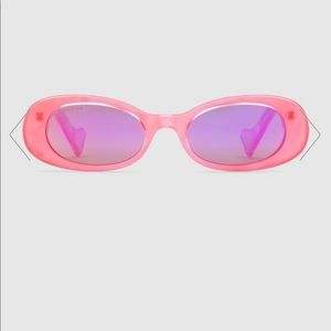 Gucci Oval Sunglasses Fluorescent Pink Acetate